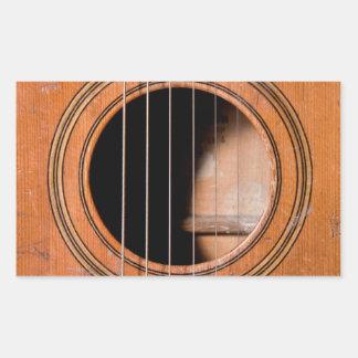 Rustic guitar rectangular sticker