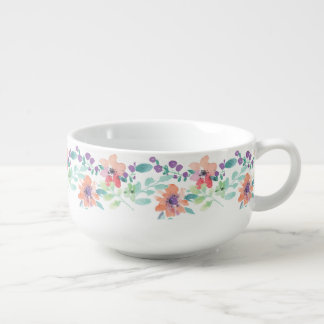 Rustic hand drawn flowers and leaves soup mug