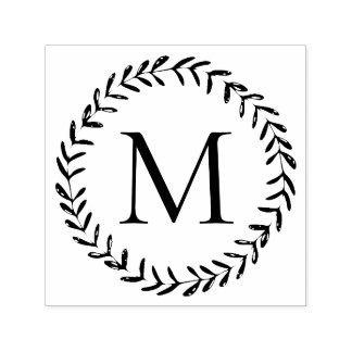 Rustic Hand Drawn Foliage Wreath Custom Monogram Self-inking Stamp