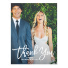 Rustic Hand Lettering Photo Wedding Thank You Postcard