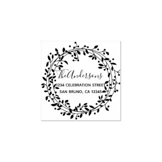Rustic Handdrawn Botanical Wreath Return Address Rubber Stamp