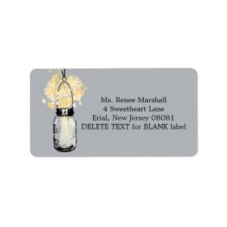 Rustic Hanging Mason Jar Wedding Address Label