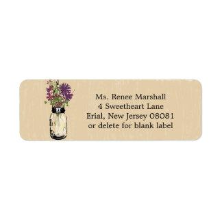 Rustic Hanging Mason Jar Wedding Return Address Label