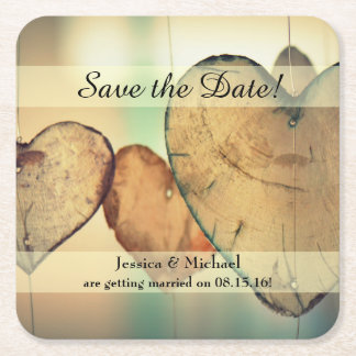 Rustic Hanging Wood Hearts Save the Date Square Paper Coaster