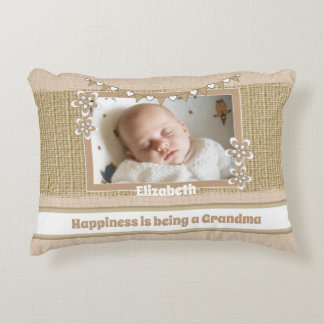 Rustic happiness is being a grandma photo decorative cushion
