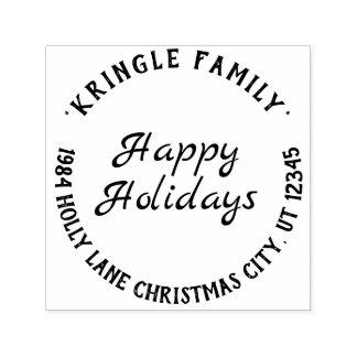 Rustic Happy Holidays Christmas Return Address Self-inking Stamp