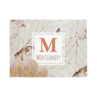 Rustic Harvest Fall Leaves & Pumpkins Family Name Doormat