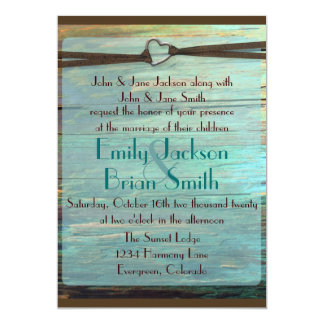 Rustic heart buckle turquoise wood wedding invites