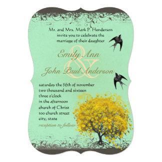 Rustic Heart Leaf Mustard Birds Wedding Invites