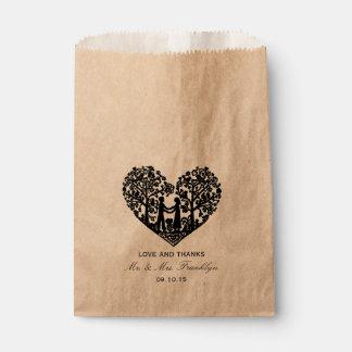 Rustic Heart Wedding Favor Bag