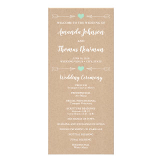 Rustic Hearts and Arrows | Wedding Program Rack Card