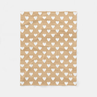 Rustic Hearts Pattern on Wood Background Monogram Fleece Blanket