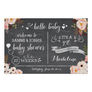 Rustic Hello Baby Floral Baby Shower Sign
