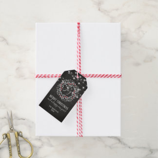Rustic Holiday Joy Merry Christmas Wreath Gift Tags