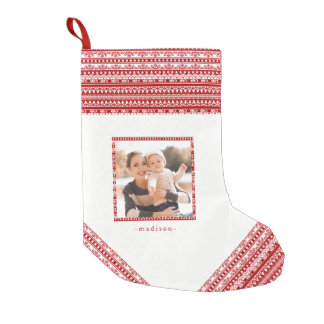 Rustic Holiday Pattern with Add Photo Red Stocking