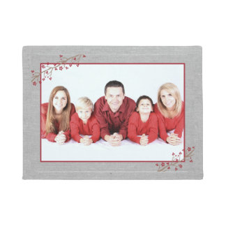 Rustic holiday photo frame front door mat
