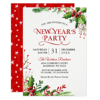 Rustic Holly Berries Classic New Year's Party Card