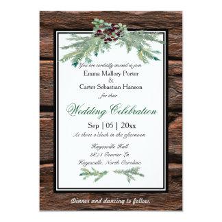 Rustic Holly Tree Branch Winter Wedding Invitation