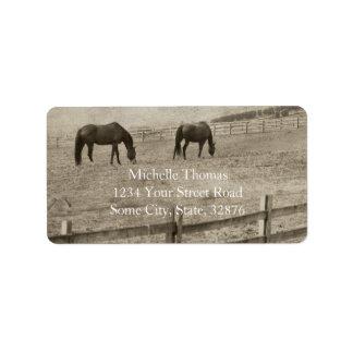 Rustic Horse Farm Address Label