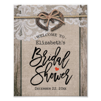 Rustic Horseshoe Burlap Lace Bridal Shower Welcome Poster