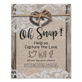 Rustic Horseshoe Burlap Lace Snap Hashtag Wedding Poster