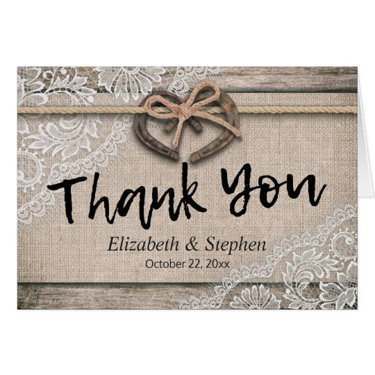 Rustic Horseshoes Burlap Lace Wedding Thank You Card