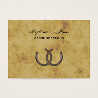 Rustic Horseshoes Distressed BG Accommodations Business Card