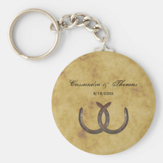 Rustic Horseshoes Distressed BG Basic Round Button Key Ring