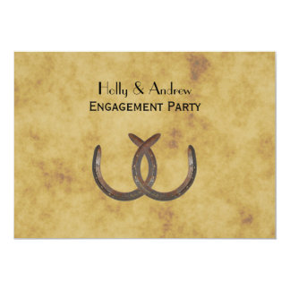 Rustic Horseshoes Distressed BG H Engagement Card