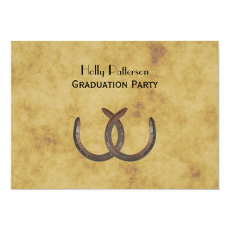 Rustic Horseshoes Distressed BG H Graduation 13 Cm X 18 Cm Invitation Card
