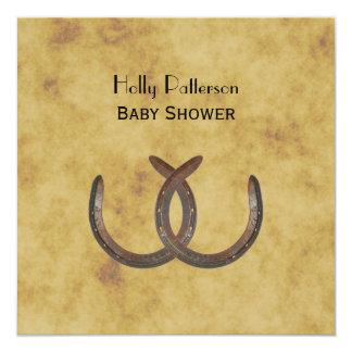 Rustic Horseshoes Distressed BG SQ Baby Shower 13 Cm X 13 Cm Square Invitation Card