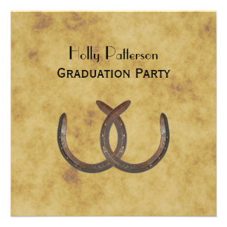 Rustic Horseshoes Distressed BG SQ Graduation Personalized Announcements