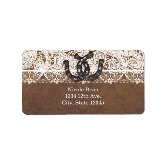 Rustic Horseshoes & Lace Country Wedding Labels