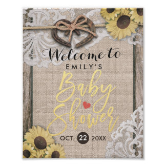 Rustic Horseshoes & Sunflowers Baby Shower Welcome Poster