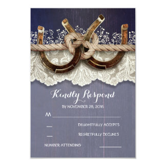 Rustic Horseshoes Wood Lace Navy Wedding RSVP 9 Cm X 13 Cm Invitation Card