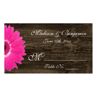 Rustic Hot Pink Gerber Daisy Wedding Place Cards Double-Sided Standard Business Cards (Pack Of 100)