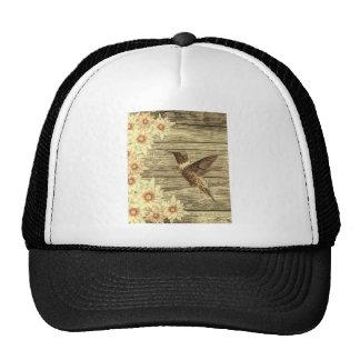 Rustic hummingbird and flower design trucker hat