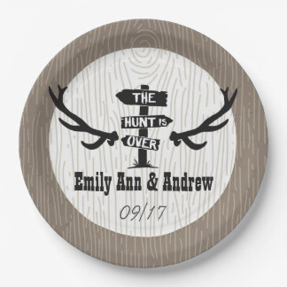 Rustic Hunt is Over Barnwood 9 Inch Paper Plate