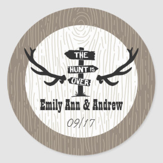 Rustic Hunt is Over Barnwood Save the Date Seal Round Sticker