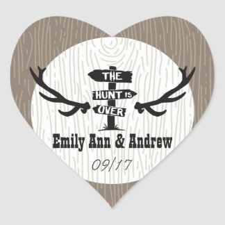 Rustic Hunt is Over Heart Shape Save the Date Seal Heart Sticker