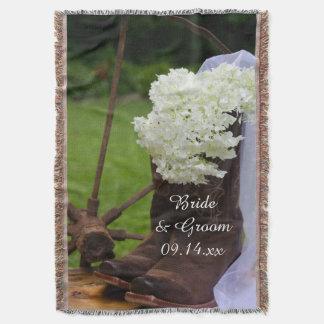 Rustic Hydrangea and Cowboy Boots Western Wedding Throw Blanket