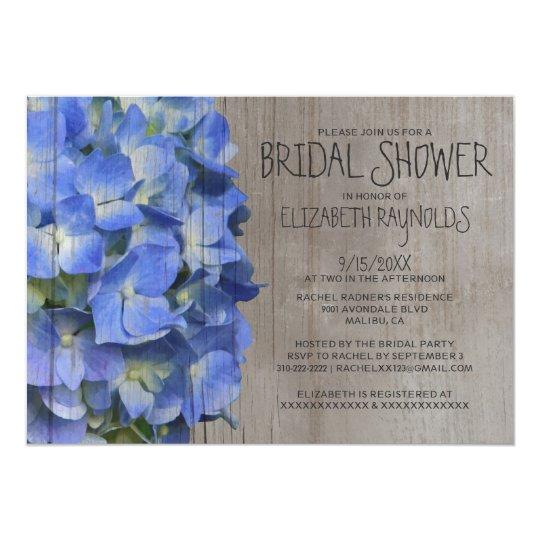 Rustic Hydrangea Bridal Shower Invitations