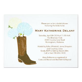 Rustic Hydrangea Cowboy Boot Bridal Shower Invite