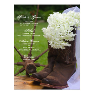 Rustic Hydrangea Cowboy Boots Western Wedding Menu 21.5 Cm X 28 Cm Flyer