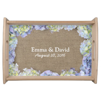 Rustic Hydrangea Flowers Frame Burlap Wedding Serving Tray