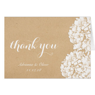 Rustic Hydrangeas Floral Wedding Thank You Card