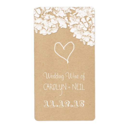 Rustic Hydrangeas Floral Wedding Wine Shipping Label