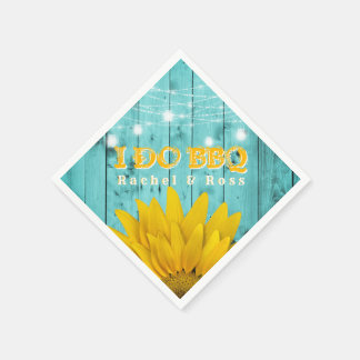 Rustic I Do BBQ Sunflower Couples Shower Wedding Disposable Serviette