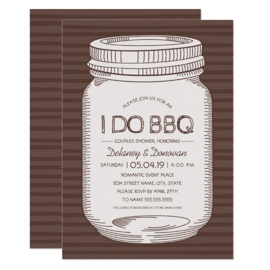 Rustic I Do BBQ Vintage Mason Jar Couples Shower Card