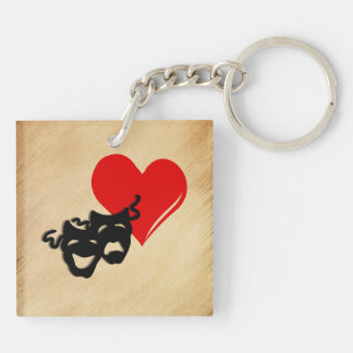 Rustic I Heart Theater Key Ring